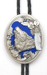 Wolf Head with Feathers Bolo Tie Enamel Made in the USA