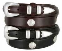 Buffalo Nickel & Indian Nickel Concho Leather Western Ranger Belt