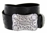 Cowtown Western Tooled Full Grain Leather Belt by Diamond V Texas Star