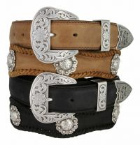 Fort Worth Saddle Berry Western Concho Belt by Diamond V Texas Star