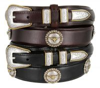 Gold Longhorn Steer Ranger Western Belt by Diamond V Texas Star
