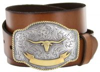 Gold Longhorn Trophy Full Grain Leather Western Belt by Diamond V Texas Star
