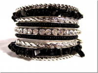 Black Onyx Rhinestone Chip Bangle J-2106