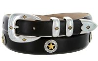 Presidential Gold Star Concho Western Leather Belt by Diamond V Texas Star