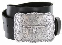 Silver Longhorn Genuine Leather Western Belt by Diamond V Texas Star