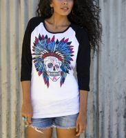 Sweet Sugar Skull Burnout Baseball  T-1816 Black/White