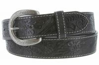 Terry Western Engraved Buckle Genuine Leather Belt