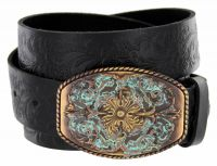 New Orleans Western Tooled Full Grain Leather Belt by Diamond V Texas Star