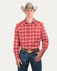 Generations Snap Front Shirt (Noble Colors: Burgundy Plaid, Noble Sizes: Small)