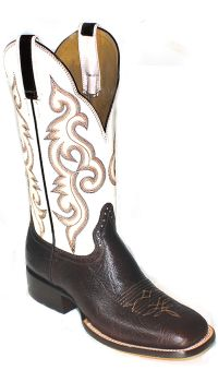 Mens Boots 13 inch Chocolate White Cowhide Cowboy Boots 2840 (Hondo Sizes: 8.0, Hondo Widths: D - Width)
