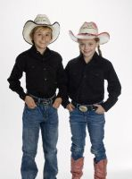 CHILD'S Western Shirt (Blk Str / Bonanza - Colors: Black, Bonanza  Sizes: Small)