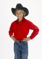 CHILD'S Western Shirt (Blk Str / Bonanza - Colors: Red, Bonanza  Sizes: Small)