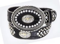 Black Rhinestone Leather Belt/Buckle, Steerhead (Rhinestone Belt Sizes: S/M 32-36)