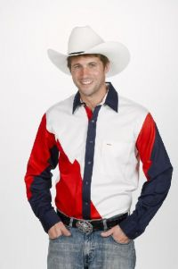 Red, White & Navy Men's Western Shirt (Bonanza Boot Sizes: Small)