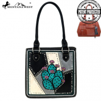 MW878G-8559 Montana West Cactus Collection Concealed Carry Tote Bag (MW878G-8559 Colors: Black)
