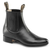 BA-100 Leather Botin Charro Boots by Bonanza Boots (BA-100 Leather: Please Select Size: 6, BA-100 Leather: Please Select Color: Black)