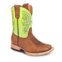BA-3100 - Bonanza Kids Rodeo Boots (Blk Str / Bonanza - Colors: Camel / Green, Bonanza Boot Sizes: 7.0)