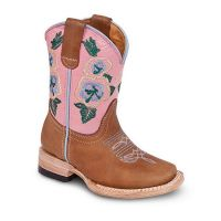 BA-3100 - Bonanza Kids Rodeo Boots (Blk Str / Bonanza - Colors: Tan / Pink, Bonanza Boot Sizes: 7.0)