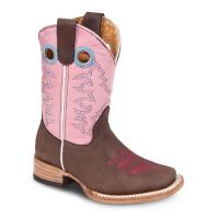 BA-3100 - Bonanza Kids Rodeo Boots (Blk Str / Bonza - Colors: Midnight Brown / Pink, Western Express Size: 7.0)