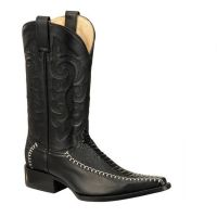 BA-51707 - Bonanza Exotic Western Boots (Blk Str / Bonanza - Colors: Black, Bonanza  Sizes: 6.0)