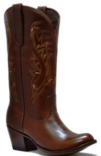 LADIES BASIC-WESTERN  PULL-UP U-TOE (Denver Colors: BROWN, Denver Sizes: 5 B)