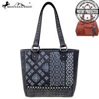 MW855G-8317 Montana West Embroidered Collection Concealed Carry Tote (MW855G-8317 Colors: Black)