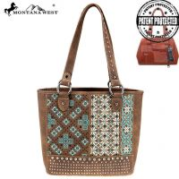 MW855G-8317 Montana West Embroidered Collection Concealed Carry Tote (MW855G-8317 Colors: Coffee)