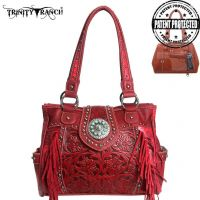 TR04G-8036A Trinity Ranch Tooled Design Concealed Handgun Collection Handbag (TR04G-8036A: Red)