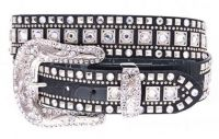 Rhinestone Studded Black Leather Belt (Rhinestone Belt Sizes: S/M 32-36)