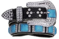 Black Leather Belt Turquoise squares (Rhinestone Belt Sizes: S/M 32-36)