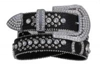 Black Leather Belt Horseshoes & Rhinestones (Rhinestone Belt Sizes: S/M 32-36)