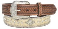 New Brown Leather Belt-Silver Rivets, Conchos and Rhinestones (Western Express Belt Size: 32 inch)