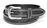 "Leather Belt - Black, Tooled, Studded, 1-1/2"" wide. (Western Express Belt Size: 32 inch)"