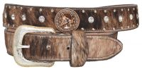 New Brown Leather Belt - Copper Horsehead Concho, Silver Buckle (Western Express Belt Size: 32 inch)