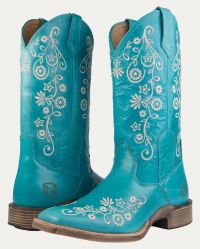 Women's All-Around Boots Square Toe Frontier Floral - Turquoise (Noble Colors: Turquoise, Noble Sizes: 6 Reg)